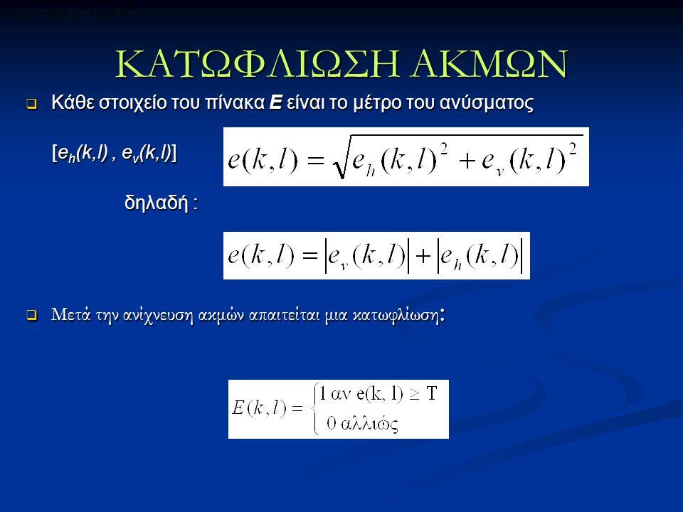 ΚΑΤΩΦΛΙΩΣΗ ΑΚΜΩΝ Κάθε στοιχείο του πίνακα Ε είναι το μέτρο του ανύσματος. [eh(k,l) , ev(k,l)] δηλαδή :